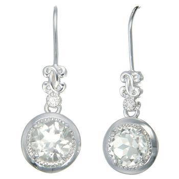 商品1.50 cttw Amethyst Earrings in .925 Sterling Silver with Rhodium Round Shape图片