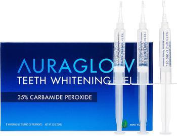 商品AuraGlow Teeth Whitening Kit, LED Light, 35% Carbamide Peroxide, (2) 5ml Gel Syringes, Tray and Case图片