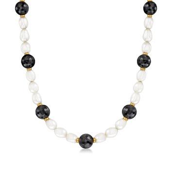 商品Ross-Simons 8-9mm Cultured Pearl and Black Onyx Necklace With 14kt Yellow Gold图片