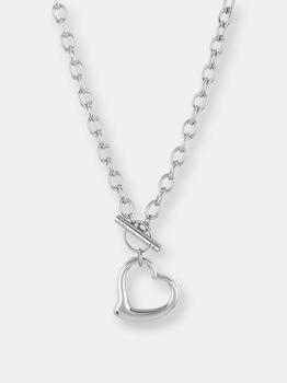 商品Elya Women's Polished Open Heart Toggle Cable Chain Stainless Steel Pendant Necklace图片