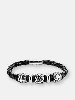 "商品Crucible Stainless Steel Cobblestone Pattern Beaded Black Braided Leather Bracelet (13 mm) 9""图片"