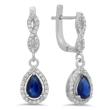 商品Dazzling Rock Dazzlingrock Collection 18K 7X5 MM Each Pear Lab Created Blue Sapphire & Round Diamond Ladies Drop Earrings, White Gold图片