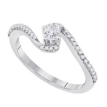 商品maulijewels 0.25 Ct Natural White Princess Cut Diamond Engagement Wedding Ring Crafted In 10K Rose White & Yellow Gold For Woman Best Gift Ever图片
