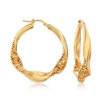 商品Ross-Simons Italian 18kt Gold Over Sterling Filigree Twisted Hoop Earrings图片