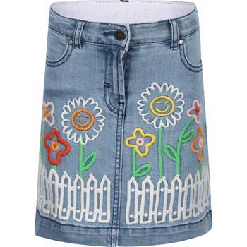 商品Embroidered flowers garden denim skirt in blue图片