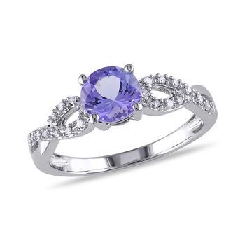 商品1/10 CT Diamond TW And 1 CT TGW Tanzanite Fashion Ring 10k White Gold GH I1;I2 Size 9图片