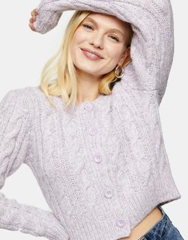 商品香芋紫短款卫衣女士针织衫时尚麻花百搭毛衣图片