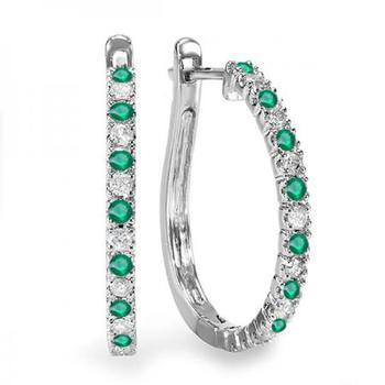商品Dazzling Rock Dazzlingrock Collection 14K Round Emerald And White Diamond Ladies Hoop Earrings, White Gold图片