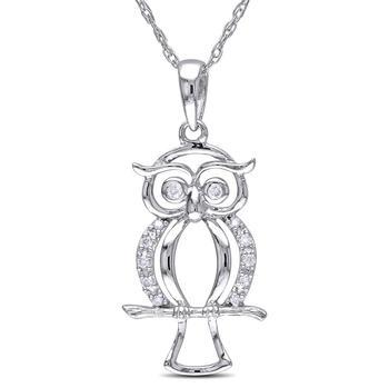 商品Amour Diamond-Accent Owl White Gold Pendant JMS002940图片