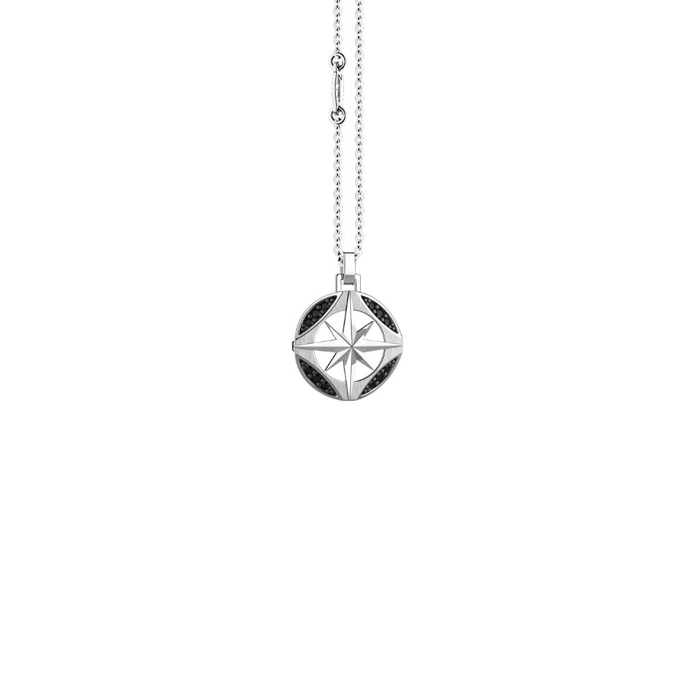 商品Compass rose silver necklace with natural stones.图片
