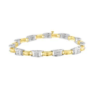 商品Haus of Brilliance 14K Two-Tone Gold 1 ct TDW Diamond Chain Link Bracelet (H-I,S12-I1)图片