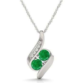 商品Maulijewels 1.00 Carat Round Emerald & White Diamond Gemstone Pendant In 14K White Gold With 18'' 14k White Gold Plated Sterling Silver Box Chain图片
