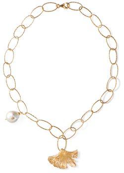 商品24k vermeil ginkgo leaf & baroque pearl necklace图片