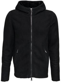 商品Black Leather Hooded Jacket图片