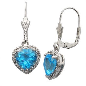 商品2.75 cttw Blue Topaz Earrings in .925 Sterling Silver with Rhodium Heart Shape图片