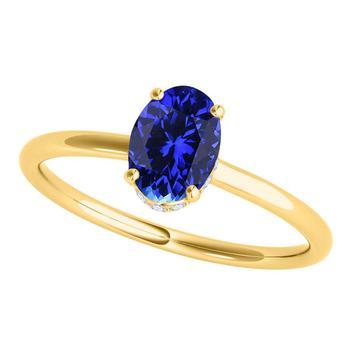 商品Maulijewels Tanzanite & White Diamond 1.00 Cttw Gemstone Ring For Women's In 14K Solid Yellow Gold In Ring Size 8图片