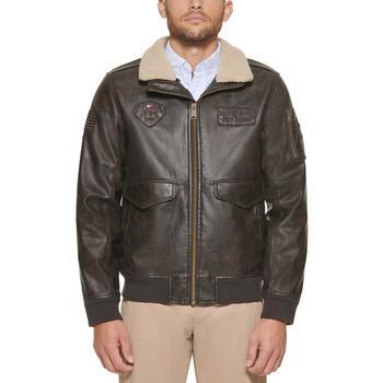 商品Men's Top Gun Faux Leather Aviator Bomber Jacket, Created for Macy's图片
