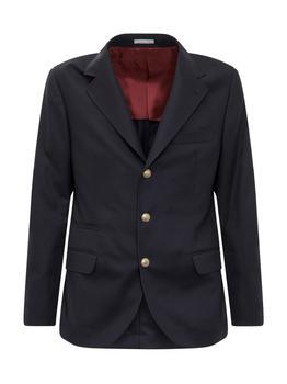 商品Brunello Cucinelli Buttoned Single-Breasted Jacket - IT48 / Blue图片