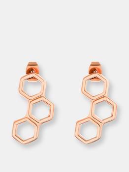 商品Elya Women's Rose Gold Plated Geometric Stainless Steel Stud Earrings图片