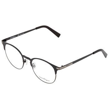 商品Salvatore Ferragamo Mens Black Round Eyeglass Frames SF2190 021 50图片