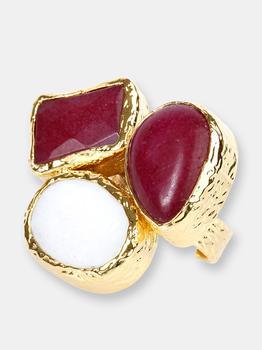 商品Elya Goldtone Red Dyed Chalcedony And Mother Of Pearl Cluster Ring (29 Mm)图片