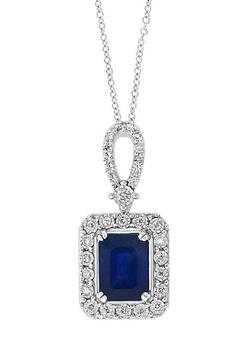 商品1/5 ct. t.w. Diamond and 1.52 ct. t.w. Sapphire Halo Pendant Necklace in 14K White Gold图片