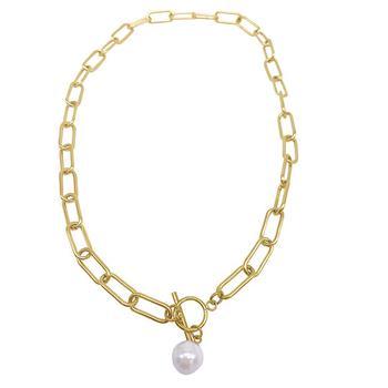 商品Paper Clip Toggle Necklace with Pearl gold图片