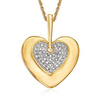 商品Ross-Simons Diamond Heart Pendant Necklace in 14kt Yellow Gold图片