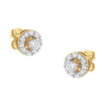 商品Haus of Brilliance 2 Micron Yellow Gold Plated Sterling Silver 1/2ct TDW Diamond Stud Earring (J-K, I2-I3)图片