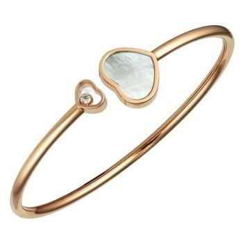 商品Chopard Happy Hearts 18k Rose Gold Mother of Pearl Diamond Bangle, Size S图片
