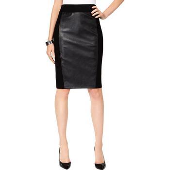 商品INC Womens Faux-Leather Ponte-Knit Pencil Skirt图片