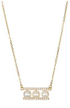 商品Yellow Gold Plated Sterling Silver 7mm Freshwater Pearl Swarovski Crystal Accented Bar Necklace图片