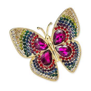 商品Silver-Tone Crystal Butterfly Pin, Created for Macy's图片