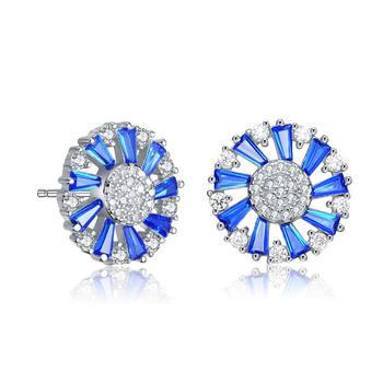 商品Megan Walford Over Sterling Silver Round and Baguette Cubic Zirconia Stud Earrings图片