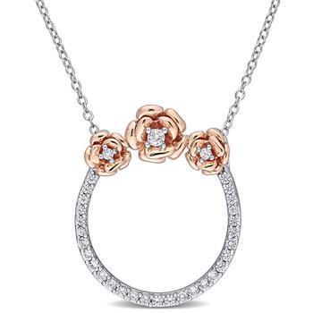 商品Amour Two-Tone Silver 3/5 CT TGW Created White Sapphire Rose Open Circle Pendant with Chain图片