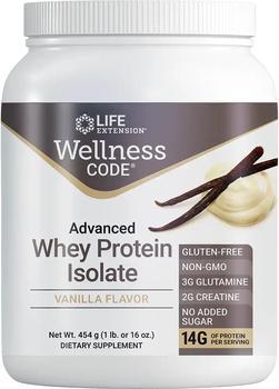 商品Life Extension Wellness Code® Advanced Whey Protein Isolate, Vanilla (454 Grams)图片