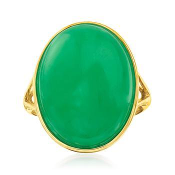 商品Ross-Simons Jade Ring in 14kt Yellow Gold图片