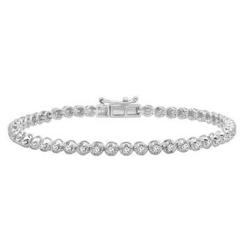 商品Dazzling Rock Dazzlingrock Collection 1.00 Carat (ctw) 10K Round Cut White Diamond Ladies Tennis Bracelet 1 CT, White Gold图片