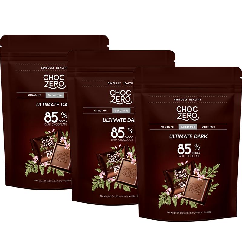 商品零巧方块系列85%可可特浓黑巧克力100g*3包装 控糖健身生酮黑巧图片