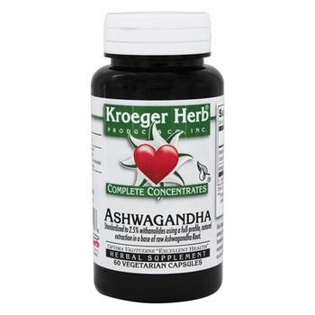 商品Kroeger Herb Ashwagandha Complete Concentrate Vegetarian Capsules, 60 Ea图片
