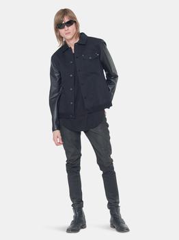 商品Konus Men's Faux Leather Trucker Jacket in Black图片