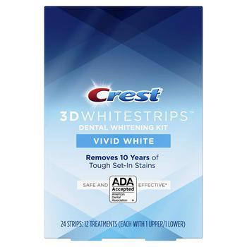 商品Crest 3D Whitestrips Vivid White Teeth Whitening Kit, 12 Treatments, 12Count图片
