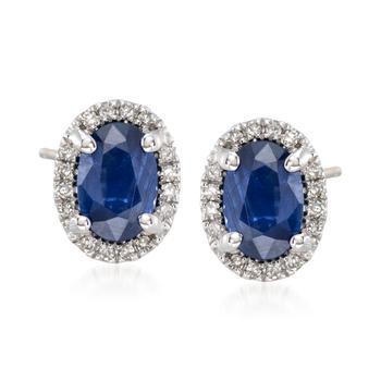商品Ross-Simons Sapphire and . Diamond Stud Earrings in 14kt White Gold图片