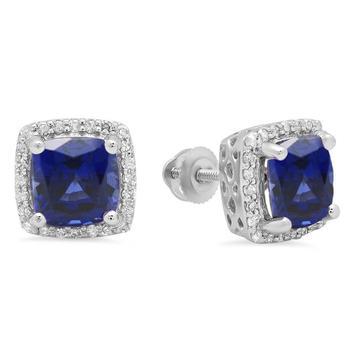 商品Dazzling Rock 10K White Gold 7 MM Each Cushion Blue Sapphire & Round Diamond Ladies Halo Stud Earrings图片