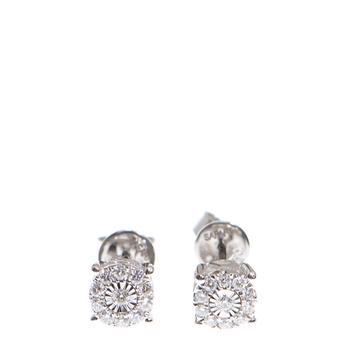 商品New J Collection Earring W / Diamond 22 Rddi 0.24 Ct 18kw 2.00 Gm Parts 0.14 Gm 18kt White Gold Silver图片