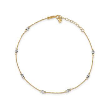 商品Bead Anklet in 14k Yellow and White Gold图片
