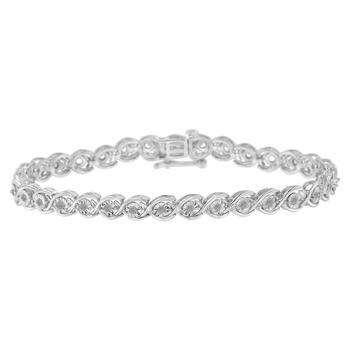 商品Haus of Brilliance Sterling Silver 1/2ct TDW Diamond Link Bracelet (I-J, I3-Promo)图片