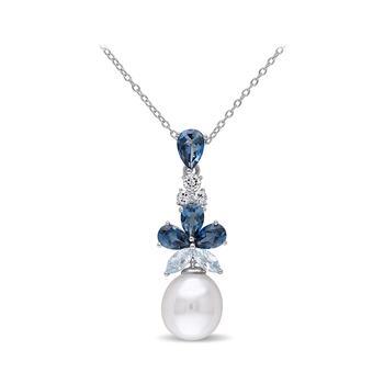 商品3 1/4 CT TGW Blue Topaz - London White Topaz Blue Topaz - Sky And 9.5 - 10 MM White Freshwater Cultured Pearl Fashion Pendant With Chain图片