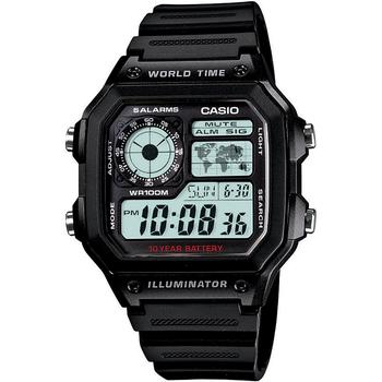 商品卡西欧-中性款数字黑色树脂表带手表图片