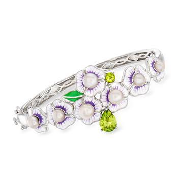 商品Ross-Simons 5-6mm Cultured Pearl Floral Bangle Bracelet With Peridot and Multicolored Enamel in Sterling Silver图片